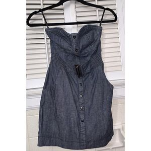 Papaya Denim Silver Buckle Mini Strapless Dress